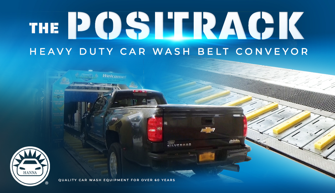 The Positrack, Positrack, Heavy Duty Car Wash Belt Conveyor, Car wash belt conveyor, Hanna Positrack,